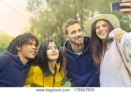 selfie of playful friends group