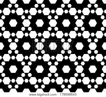 Vector monochrome seamless pattern. Simple dark modern geometric texture with small hexagons. Hexagonal grid, lattice. Repeat black & white abstract background. Design for prints, decoration, textile, furniture, fabric, cloth