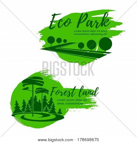 Eco park and green forest landscape icon set. Pine tree, decorative garden plant and green lawn isolated symbol for public park or square emblem, ecology themes design