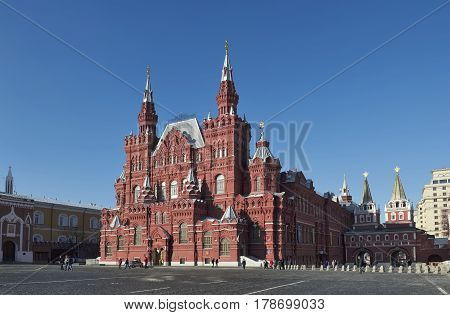 MOSCOW, RUSSIA - FEBRUARY 6, 2017: State Historical Museum in Red Square founded in 1872 Landmark