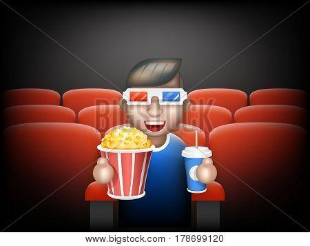 Cinema Pall Glasses Big Popcorn Soda Water Male Guy Man Boy Character Sit Armchair Realistic Cartoon Flat Design Vector illustration