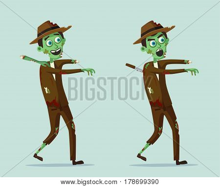 Good and bad zombie character. Cartoon vector illustration. Halloween party. Ugly monster. Green evil dead man. Stylized person.