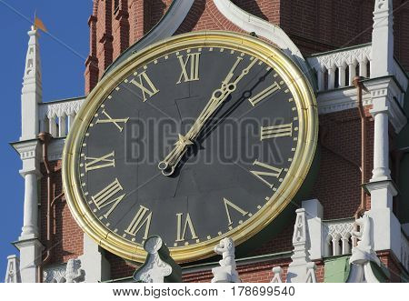 View of the chiming clock on the Spassky Tower of the Kremlin