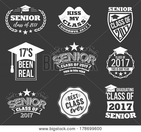 Collection of logo badges and cute funny labels for graduating senior class 2017, in white isolated against black background, design for the graduation party for university or college students