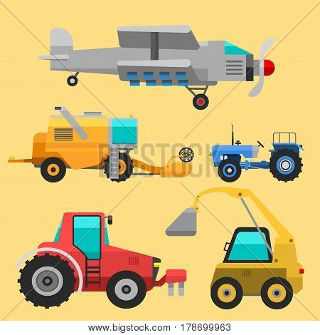 Set of different types of agricultural vehicles and harvester machine combines and excavators icon set with accessories for plowing mowing, planting and harvesting vector illustration.