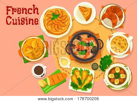 French cuisine popular national dishes icon of onion soup with cheese, seafood soup, mushroom chicken casserole julienne, croissant, baguette, beef in aspic, battered frog legs, apple pie