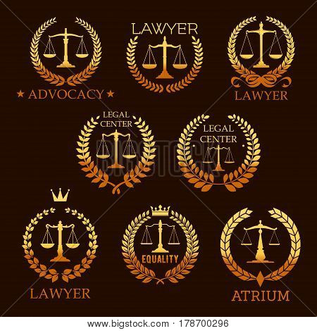 Lawyer office, law firm and legal center golden emblem set. Scale of justice gold symbol, framed by laurel and floral wreath with ribbon, crown and star for lawyer service heraldic badge design