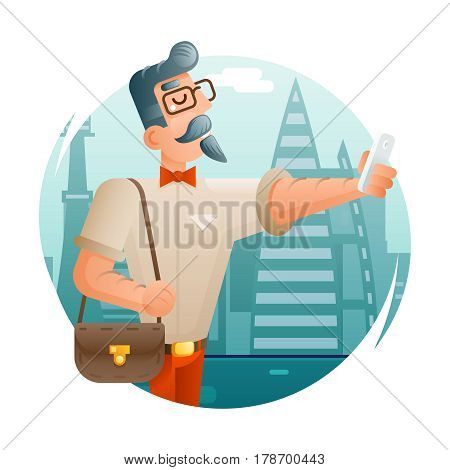 Hipster Geek Mobile Phone Cartoon Selfie Businessman Character Icon City Background Flat Design Vector Illustration