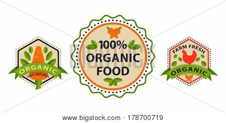 Flat style of bio organic eco healthy food label logo templates and vintage vegan element in green color for restaurant menu or package badge vector illustration. Vegetarian natural farm sign.