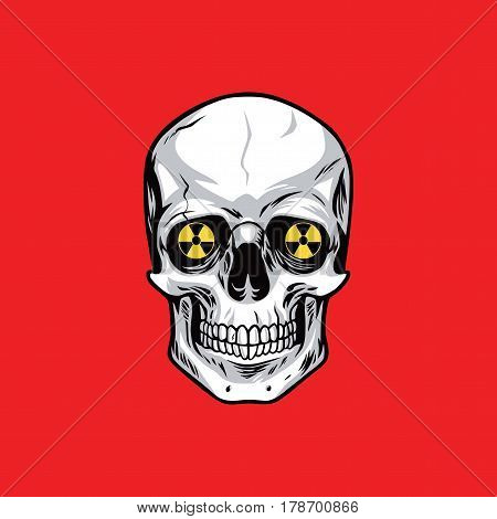Skull with Nuclear Weapon Sign Symbols on Red Background