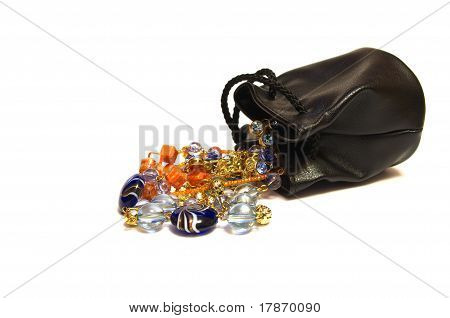 Leather purse with necklaces