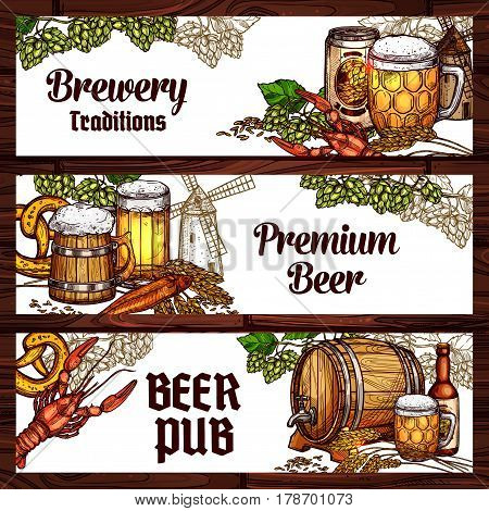 Beer pub and brewery sketch banner. Beer, ale and lager alcohol drinks glass bottle and mug, wooden barrel and tankard, served with pretzel, fish, lobster or crayfish, adorned with hops and barley