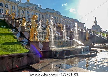 Peterhof, Russia, August 20, 2012: famous Palace complex with fountains and sculptures, located on the southern shore of Finnish Gulf. Historical site - open to tourists and travelers.
