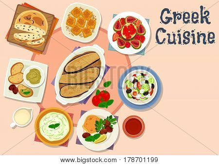 Greek cuisine tasty dishes icon of vegetable salad with feta cheese, olive bread, fish roe and cucumber yogurt dip sauce, battered fish fillet, eggplant casserole moussaka, fruit salad, nut cake