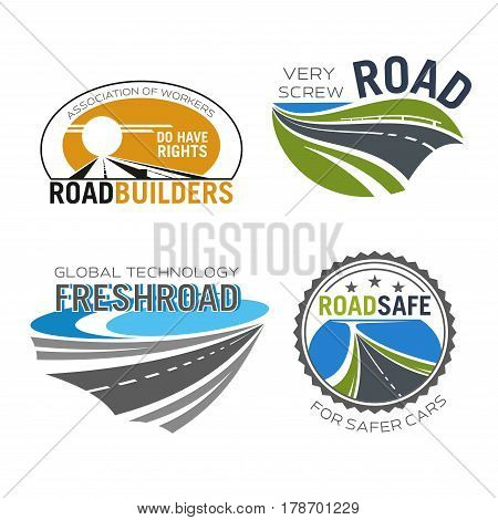 Road construction icon set. Asphalt highway and speedy freeway symbols for road build and repair service company emblem design