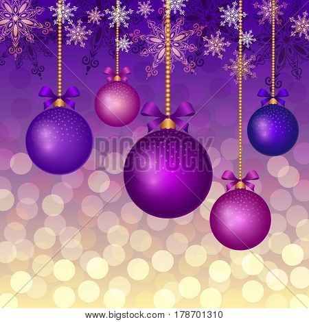 Christmas background with evening balls. Vector illustration