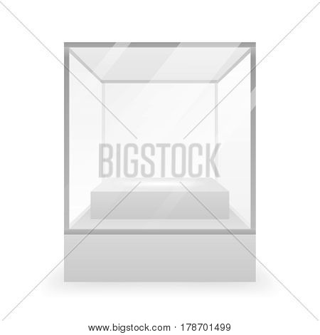 Isolated Glass box 3d realistic shop background mockup design vector illustration