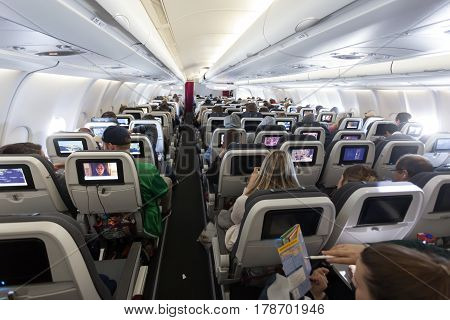 COLOGNE GERMANY - MAR 9 2017: Interior of the EuroWings Airbus aircraft ready for departure at the Cologne airport Germany