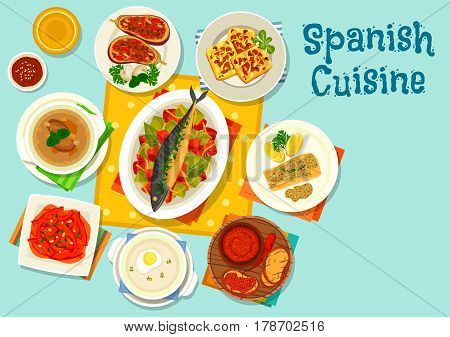 Spanish cuisine healthy lunch icon with cod in almond sauce, fish baked with vegetables, pork and ham broth, garlic soup, potato and mushroom omelette, pepper in garlic sauce, eggplant with meat