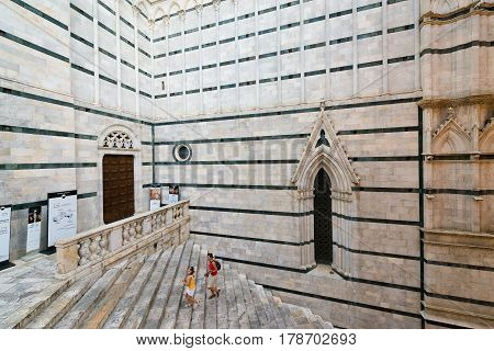Santa Maria Cathedral in Siena Tuscany Italy - Internal stairs