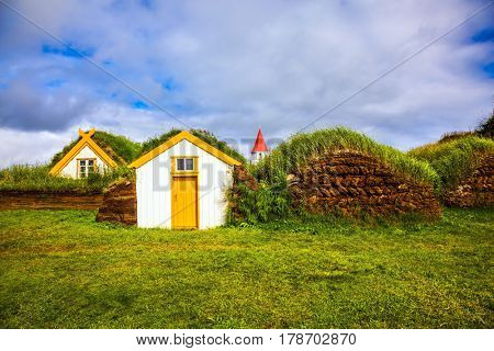Rural pastoral. The old village. Ethnographic Museum-estate Glaumbaer, Iceland. The concept of the historical and cultural tourism