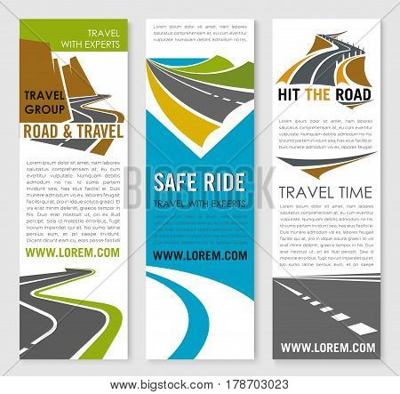 Road trip and travel banner template. Transportation company flyer and poster set with mountain and coastal highway roads, speedy freeway and bridge symbols for car journey, tourism, drive tour design