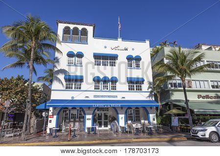 MIAMI USA - MAR 10 2017: Art Deco hotel Leslie in the famous Ocean Drive in Miami Beach. Florida United States