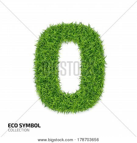Grass number Zero isolated on white background. Symbol 0 with the green lawn texture. Eco symbol collection. Vector illustration