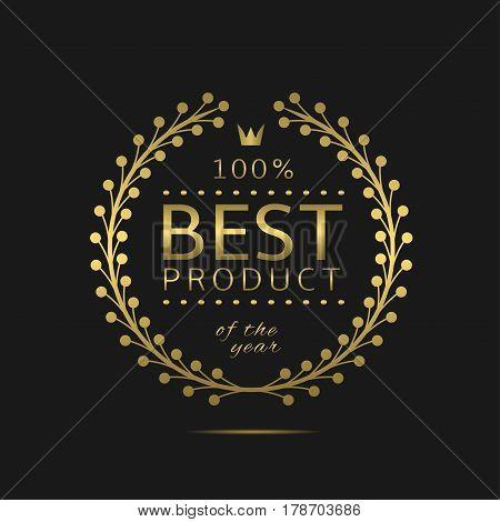 Best product label. Golden laurel wreath, sale promotion icon