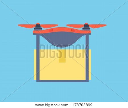Dron delivers a purchase from an online store. Vector illustration