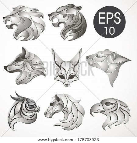 Animal logo design collection. Animal set. Lion, Horse, Eagle, Wolf, White bear, Husky, Fennec, Tiger. Vector stock collection of animal's logotypes for your design
