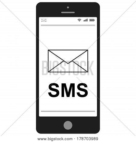 Short Message Service SMS   mobile phone,  flat vector icon for apps and websites SMS
