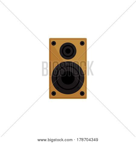 Speaker on white background vector concept. Sound speaker illustration in modern flat style. Color picture for design web site, web banner, printed material. Home speaker flat icon. Vector element.