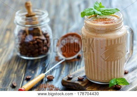 Toning Coffee Smoothies And Mint In A Glass Jar.