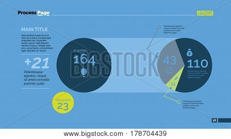 Two circular charts slide template. Business data. Share, pie chart, diagram. Creative concept for infographic, presentation, report. Can be used for topics like research, analysis, finance.