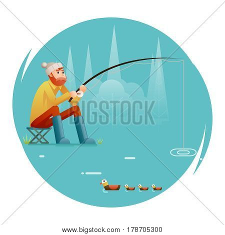fishing Adult Fisherman Fishing Rod Birds Isolated Concept Character Icon Flat Design Template Vector Illustration