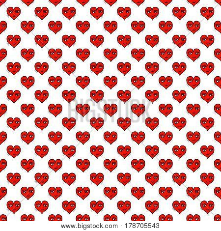 Heart shaped with character with pleased expression motif cartoon seamless illustration pattern