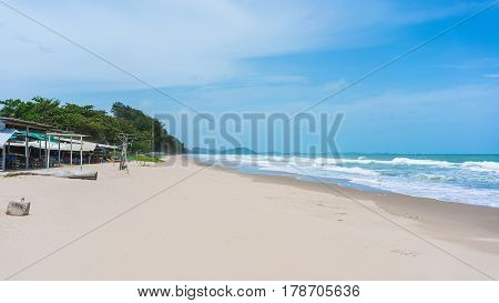 Beautiful quiet Mae Rumphueng Beach with seafood restaurants along the beach in Rayong , Thailand