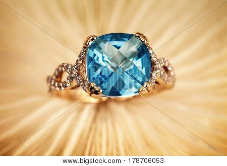 Elegant female jewelry rings with jewel gem stone blue topaz