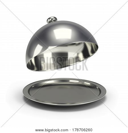Opened silver cloche. 3d image. White background.