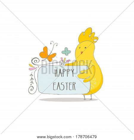 Easter Chiks keeps banner with text Happy Easter. Hand drawn vector Illustration