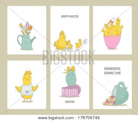 Set of premade Easter cards with hand drawn chiks and spring elements. Cute hand sketched chiks. Vector Illustration