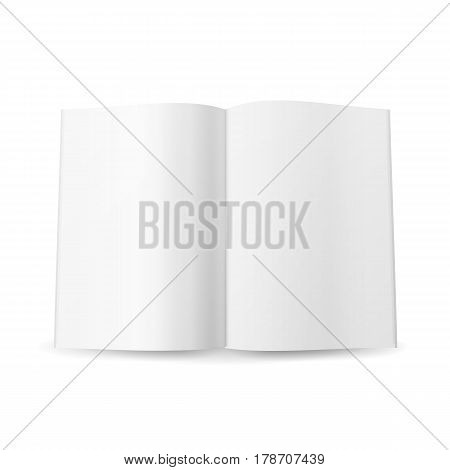 Open Magazine Spread Blank Vector. Isolated On White