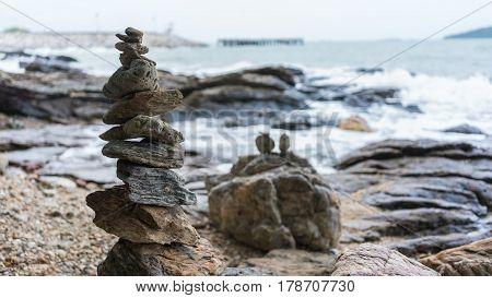 Stone cairn or stack at Khao Laem Ya  National Park , Rayong , Thailand