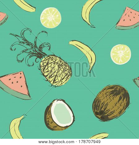 Seamless pattern with bananas, pineapples, watermelons, coconuts and citrus fruits. Vector illustration painted with watercolor grunge brushes.