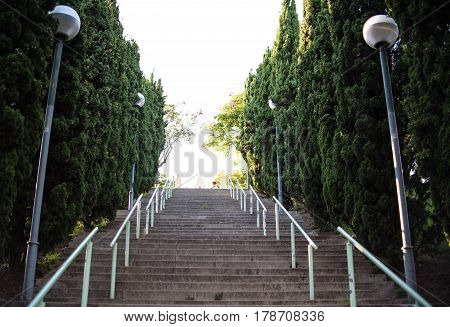 Outdoor Stairs in Park in Spain with surrounding foliage