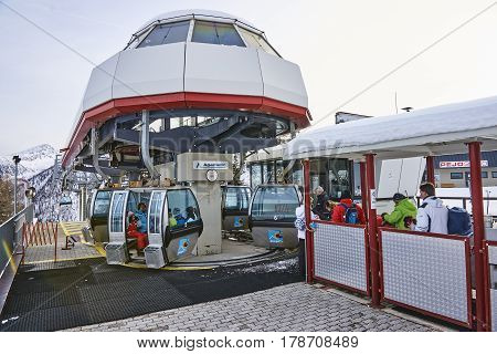 Pejo, Italy - March 8, 2017:ski Lift Of The Ski Station On 8 Mar