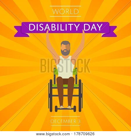 December 3 - world disability day greeting card template vector illustration. Young disabled man on wheelchair holding ribbon with text. Healthcare assistance and accessibility concept in flat design