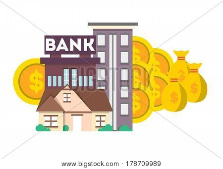 Financial investment banner with bank building vector illustration. Investing in securities and bank deposits. Financial strategic management, saving money, invest planning concept in flat design