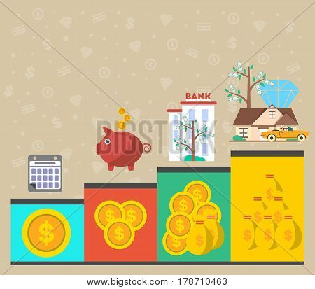 Investment in old age infographics vector illustration. Presentation of retirement money plan, financial growing, finance and banking, strategic management of pension finance, life to retire concept